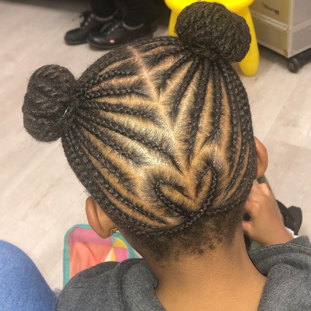 Kids Hair By Ri On Instagram Own Hair Cornrows With Shaped Braid Kids Hairstyles Hair Styles Hair
