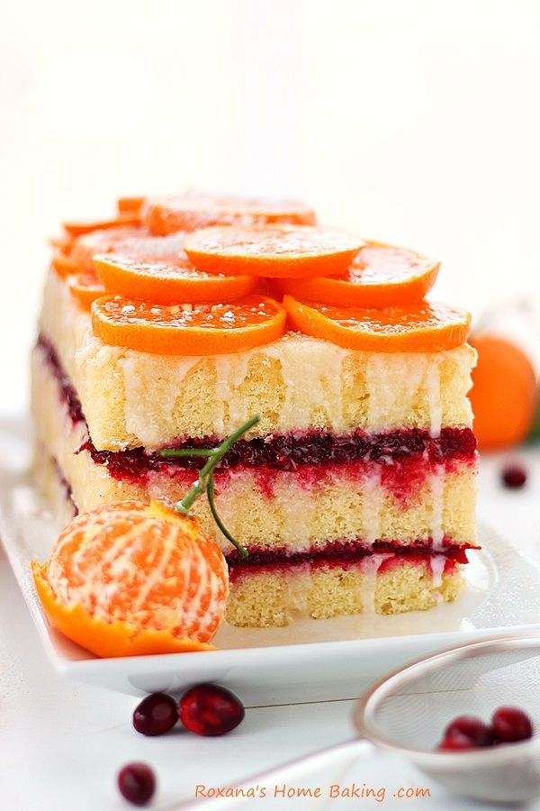layered orange cranberry cake.
