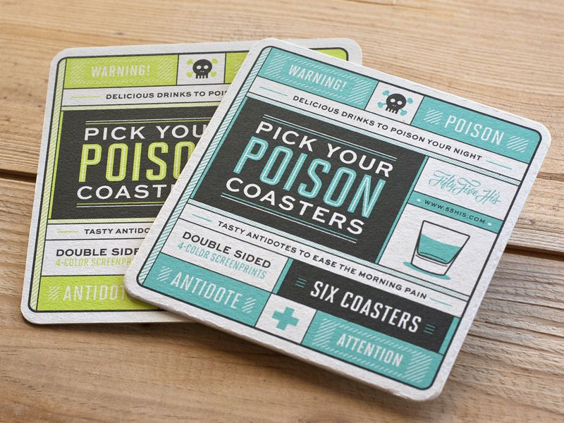 Pick Your Poison Coasters | Typography, Grid layouts and Print layout