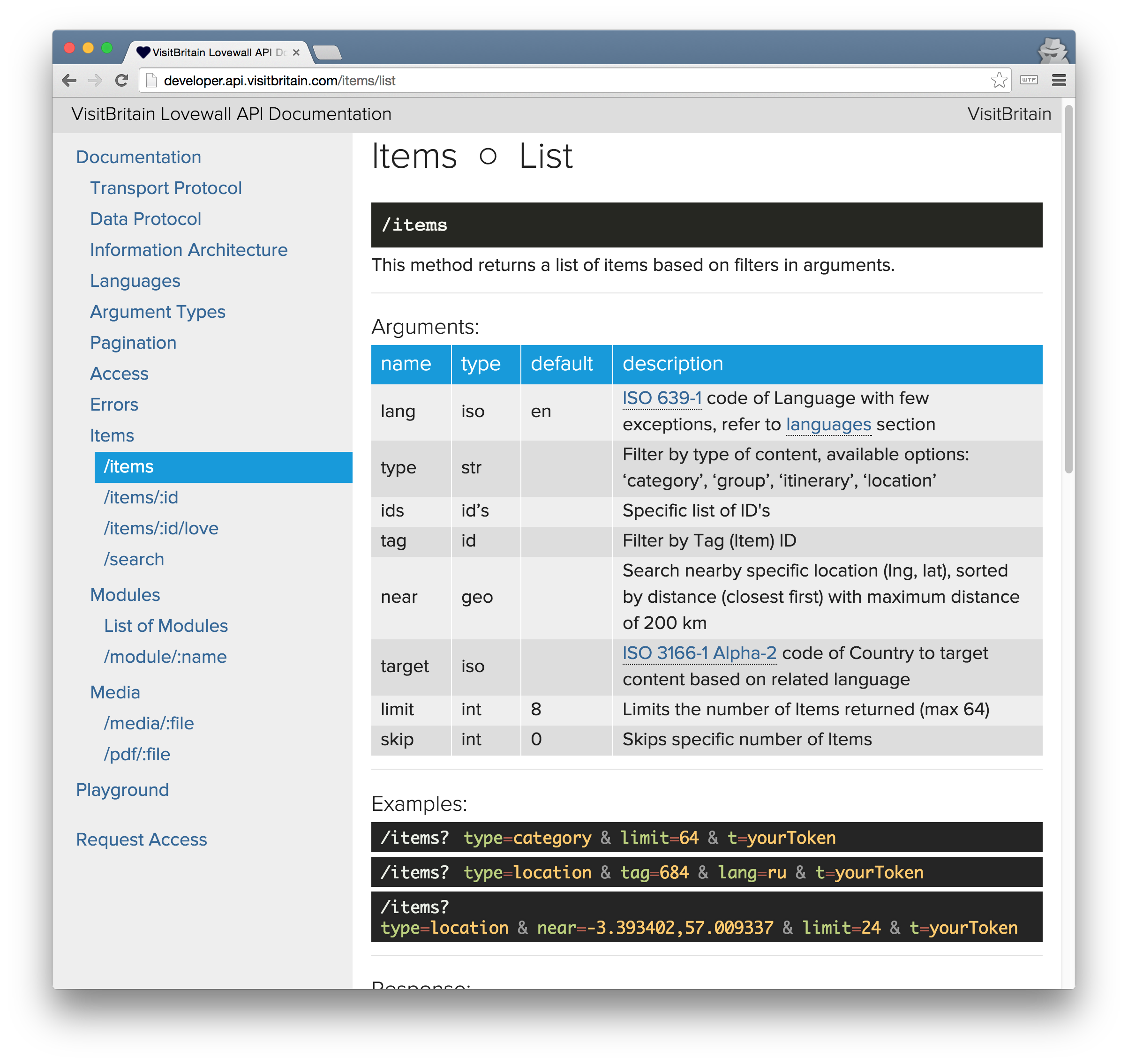 screenshot of documentation page of /items resource of visit Britain REST API