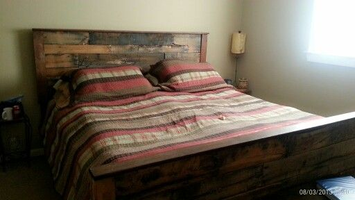 My headboard footboard and siderail I made out of pallets ...