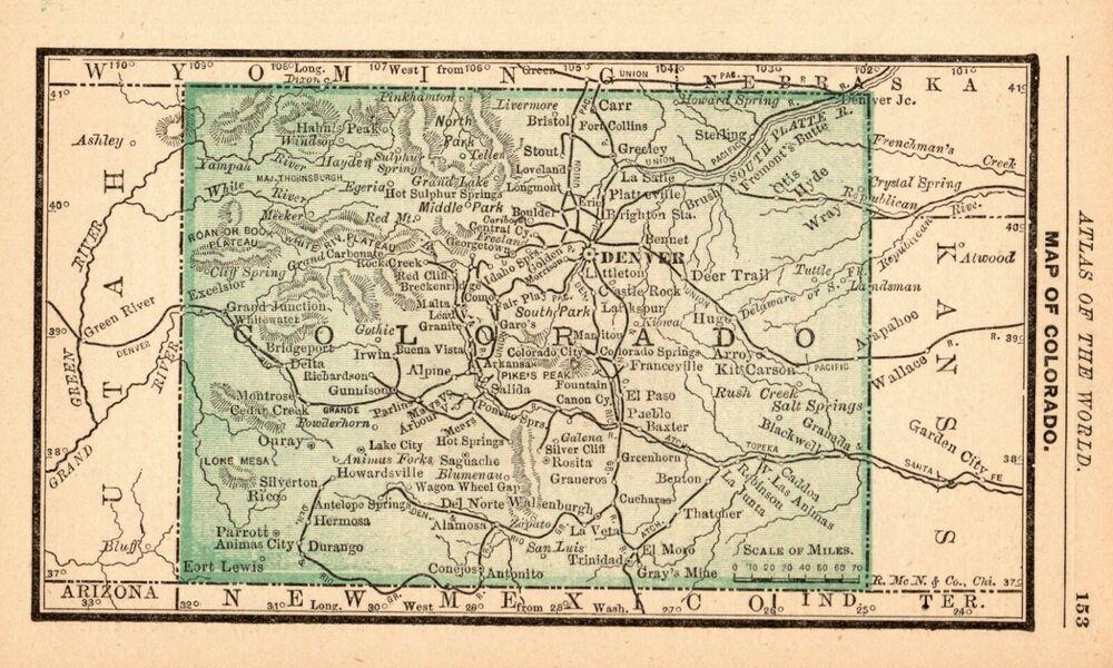 1888 Antique Colorado Map Miniature Vintage Map Of Colorado State Map 6712 Colorado Map Miniature Map State Map