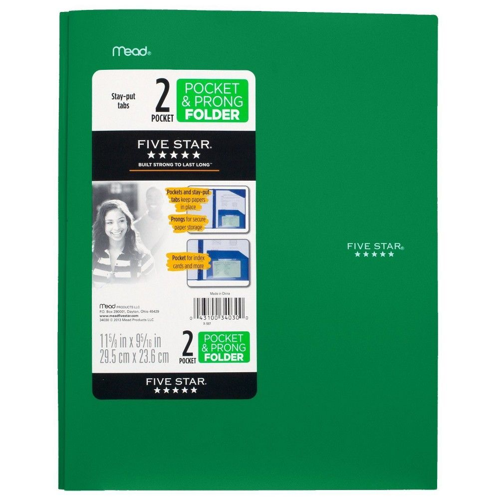 Five Star 2 Pocket Plastic Folder With Prongs Red In 2019