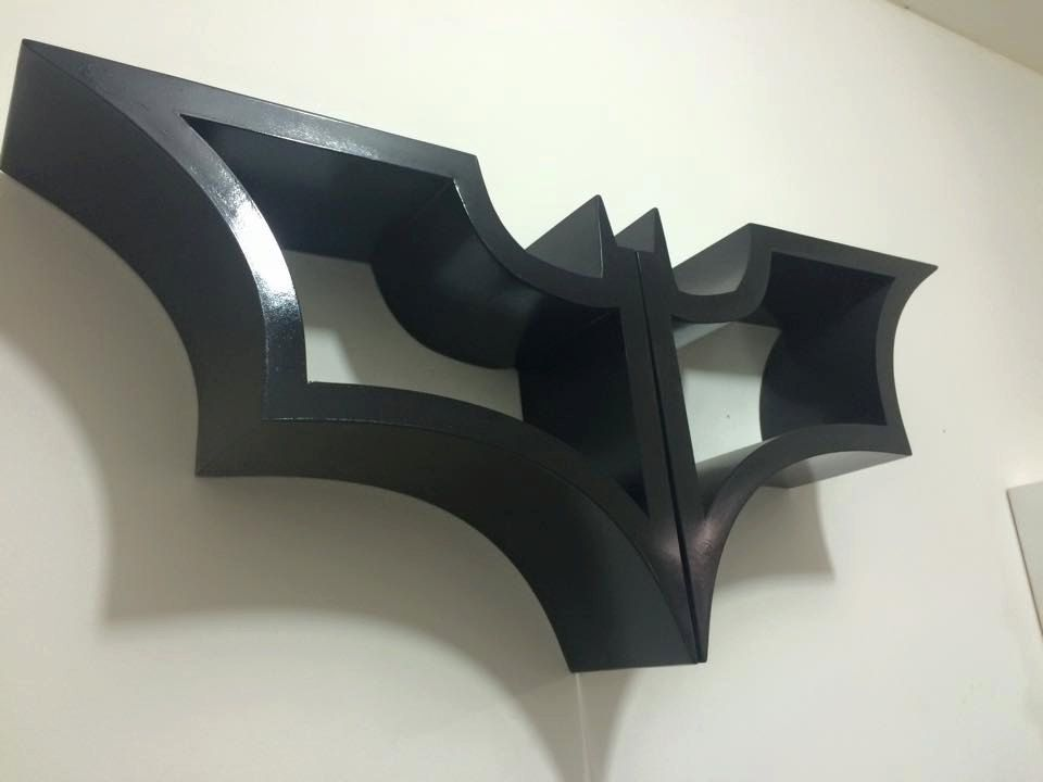 Batman Inspired Shelf Bookshelf Dark Knight Bat Symbol And Robin Anime