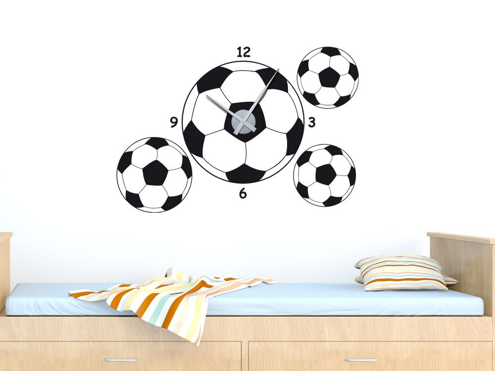 Wandtattoo uhr fu ball f r kinderzimmer wandtattoo uhr wandtattoo und fu ball for Fussballtor kinderzimmer