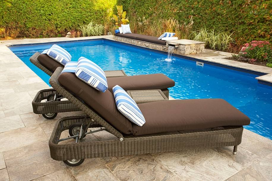 brown pool lounge chairs cushions in wicker frames with wheel and decorative pillow for natural garden - Swimming Pool Deck Chairs