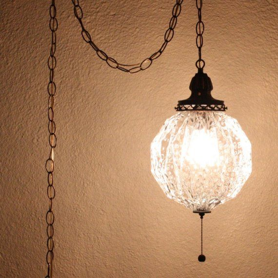 Vintage hanging light - hanging lamp - glass globe - chain cord ...