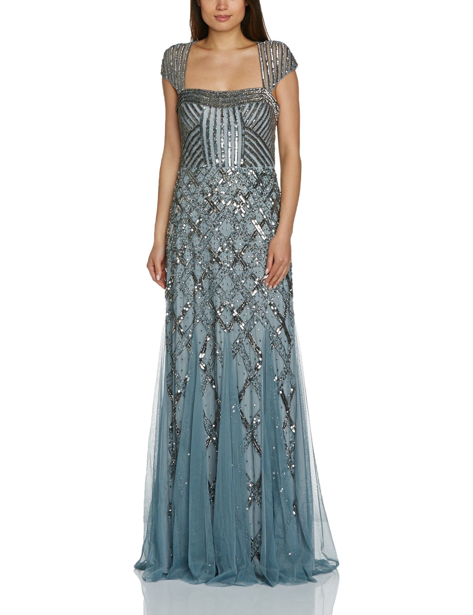 Adrianna Papell Women\'s Beaded Gown with Cap Sleeves at Amazon ...