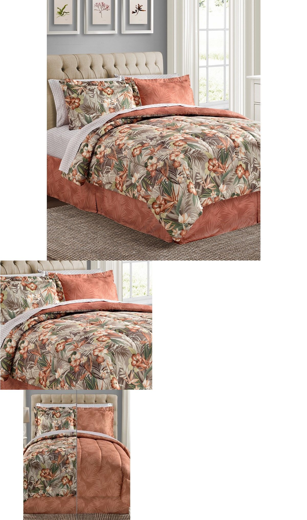 Bed In A Bag 20469 C Tropical Palm Hawaiian Beach King Comforter