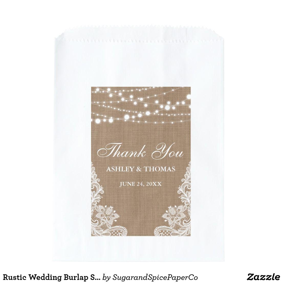 Rustic Wedding Burlap String Lights Lace Thank You Favor Bag ...