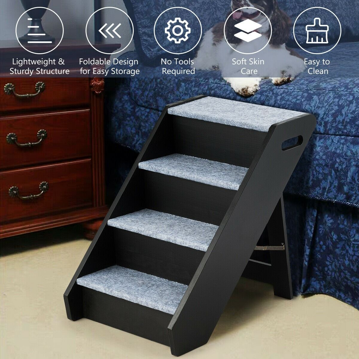 4 Step Wooden Ramp Carpeted Pet Stairs With Handle Pet Stairs Wooden Ramp Pets
