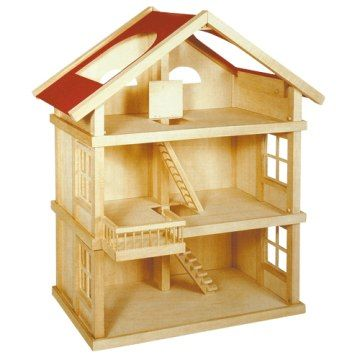 Houten poppenhuis xl dollhouse wooden dollhouse toy for Poppenhuis hout groot