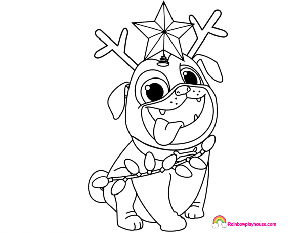 Puppy Dog Pals Rolly Printable Christmas Coloring Page Rainbow