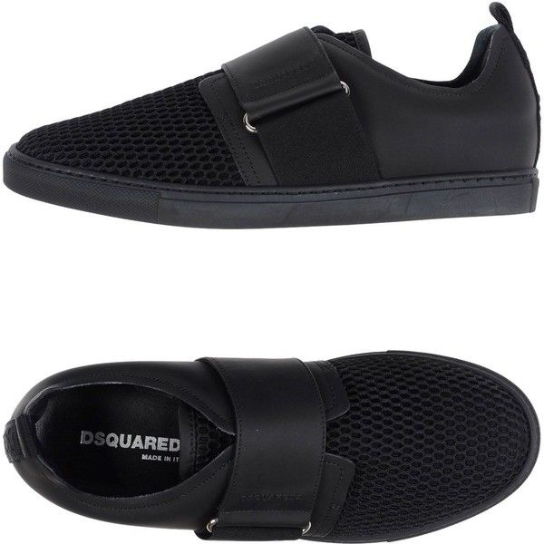 Dsquared2 Low-tops & Sneakers ($270) ❤ liked on Polyvore featuring shoes, sneakers, black, dsquared2 sneakers, animal trainer, black slip-on shoes, black low top sneakers and slip-on sneakers