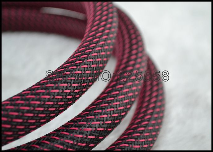 10M 16MM Nylon Mesh Red+Black (N) Screen Braided Sleeving For DIY ...