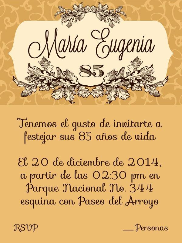 85 years birthday invitation invitacion de 85 cumpleaños Vania Elias Designs 85 birthday