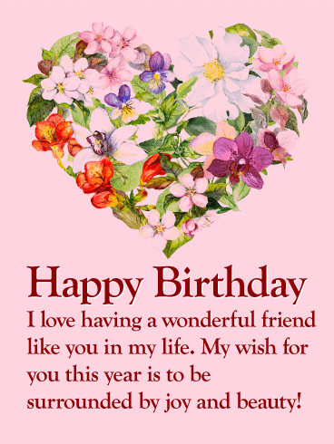Flower heart happy birthday wishes card for friends a special flower heart happy birthday wishes card for friends a special friend deserves a special birthday greeting this lovely birthday card is highlighted by a m4hsunfo