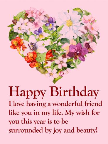 Flower Heart Happy Birthday Wishes Card for Friends   Birthday & Greeting Cards by Davia   Birthday greetings friend, Happy birthday wishes cards, Birthday wishes for friend