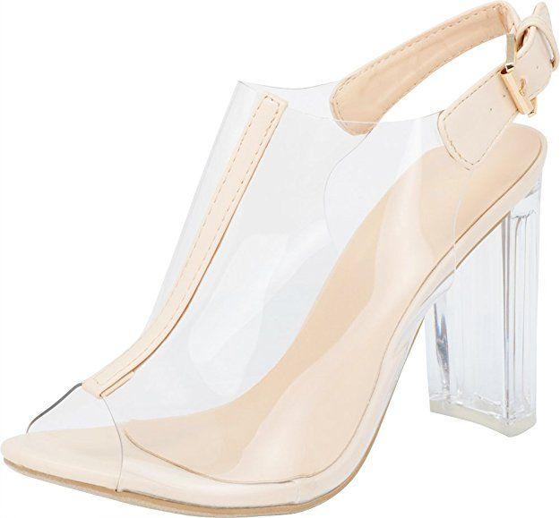 203505f86cb1f9 Top Moda Fenton 1 Womens Clear Chunky Heel Peep Toe Lucite Sandals Beige 5