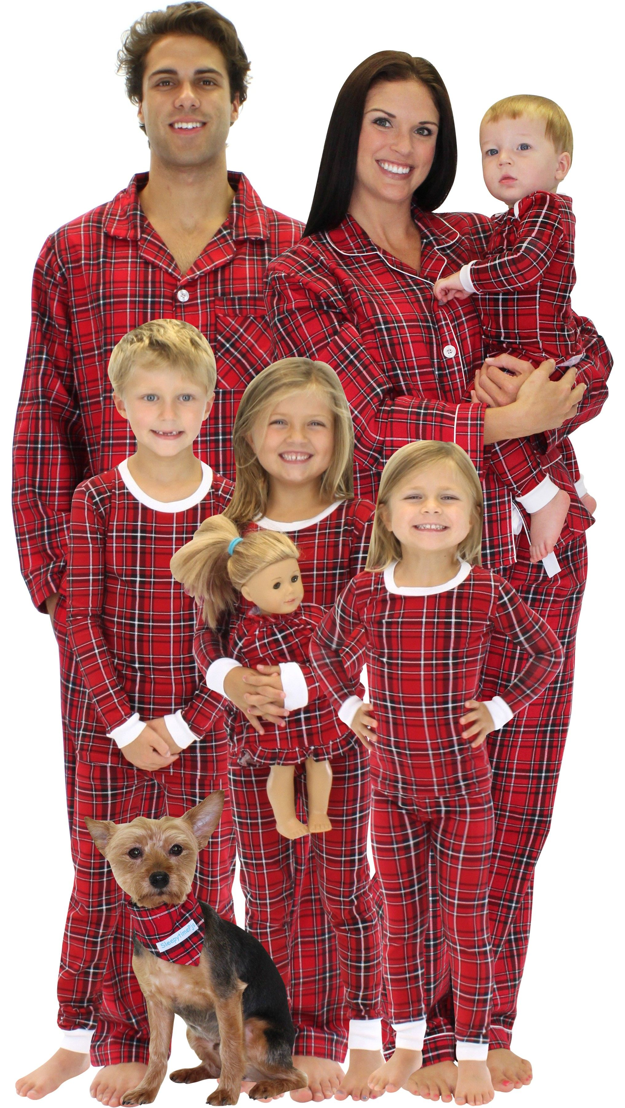Red Plaid Family Matching Christmas Pajamas by