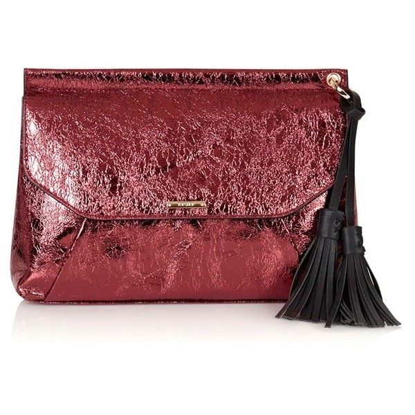 Topshop Metallic Tassel Envelope Clutch ($48) ❤ liked on Polyvore featuring bags, handbags, clutches, burgundy, topshop purse, bohemian handbags, metallic handbags, tassel handbag and tassel purse