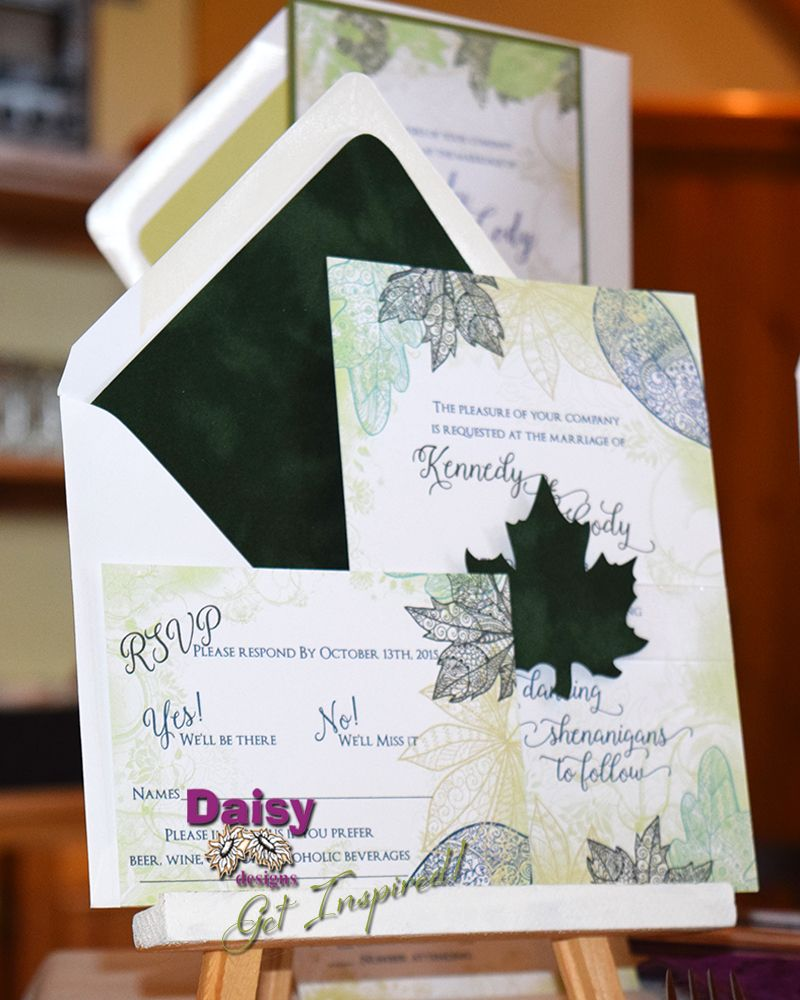 Our Velvet Green Leaves Wedding Invitations feature stylish line ...