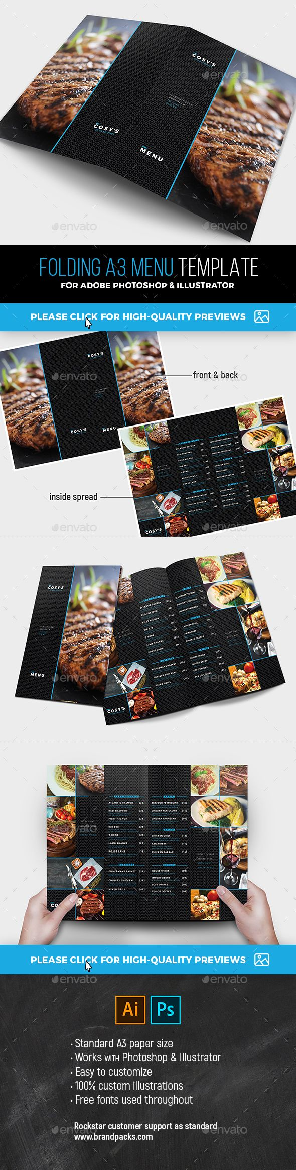 Folding A Menu Template Menu Templates Photoshop Illustrator And - Foldable menu template
