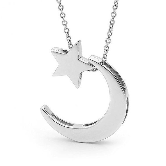 Lune et toiles collier argent sterling crescent par argentondesign find this pin and more on accesssoires yellow gold and silver crescent moon and star necklace aloadofball Choice Image