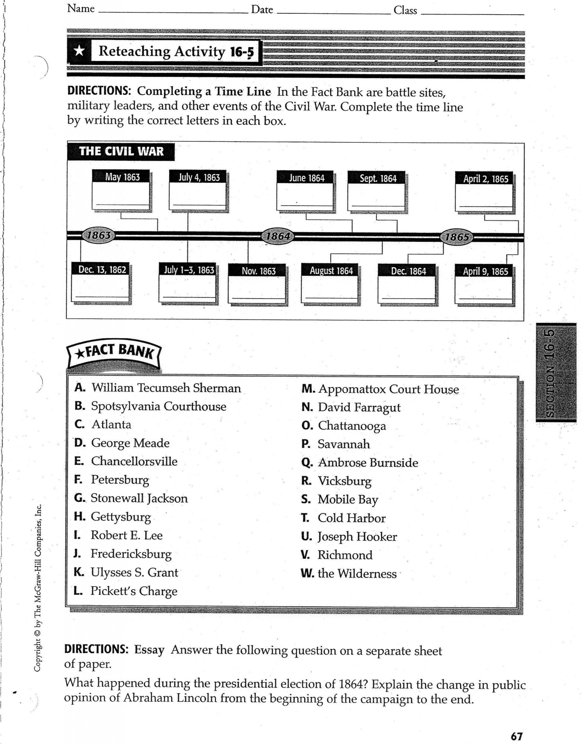 Civil War Worksheets 5th Grade Civil War History