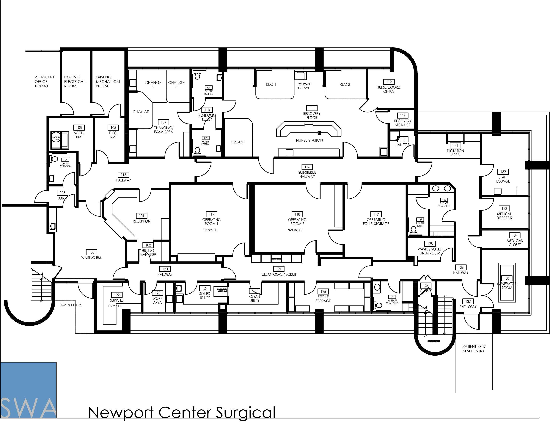 Newport Center Surgical Hospital Floor Plan Hospital Plans Surgery Center
