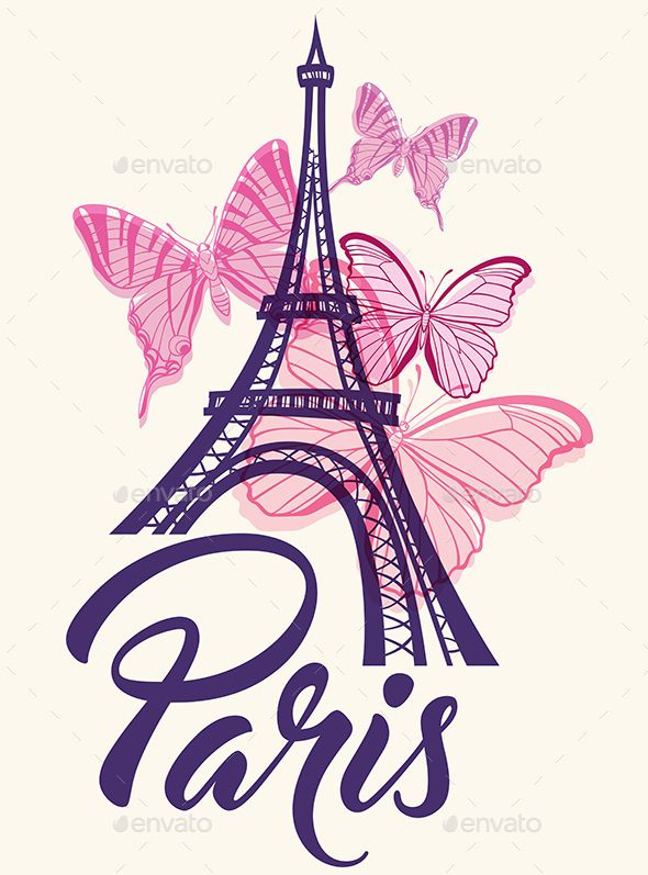 Romantic background with Eiffel Tower and pink butterflies. Zip file containsfully editable EPS10 vector file and high resolution #eiffeltower