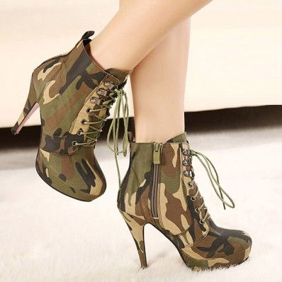 Army Green Camouflage Print Lace Up Booties