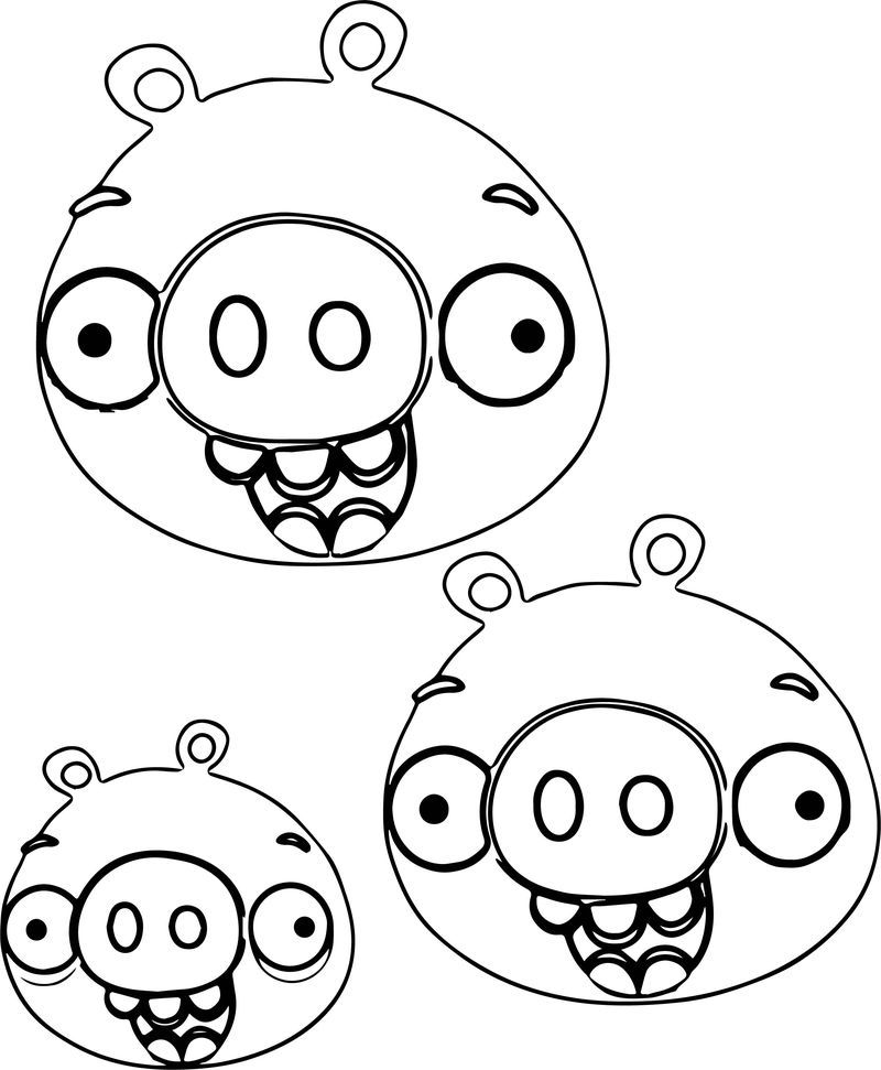 Angry Birds Three Pig Heads Coloring Page Also See The Read More