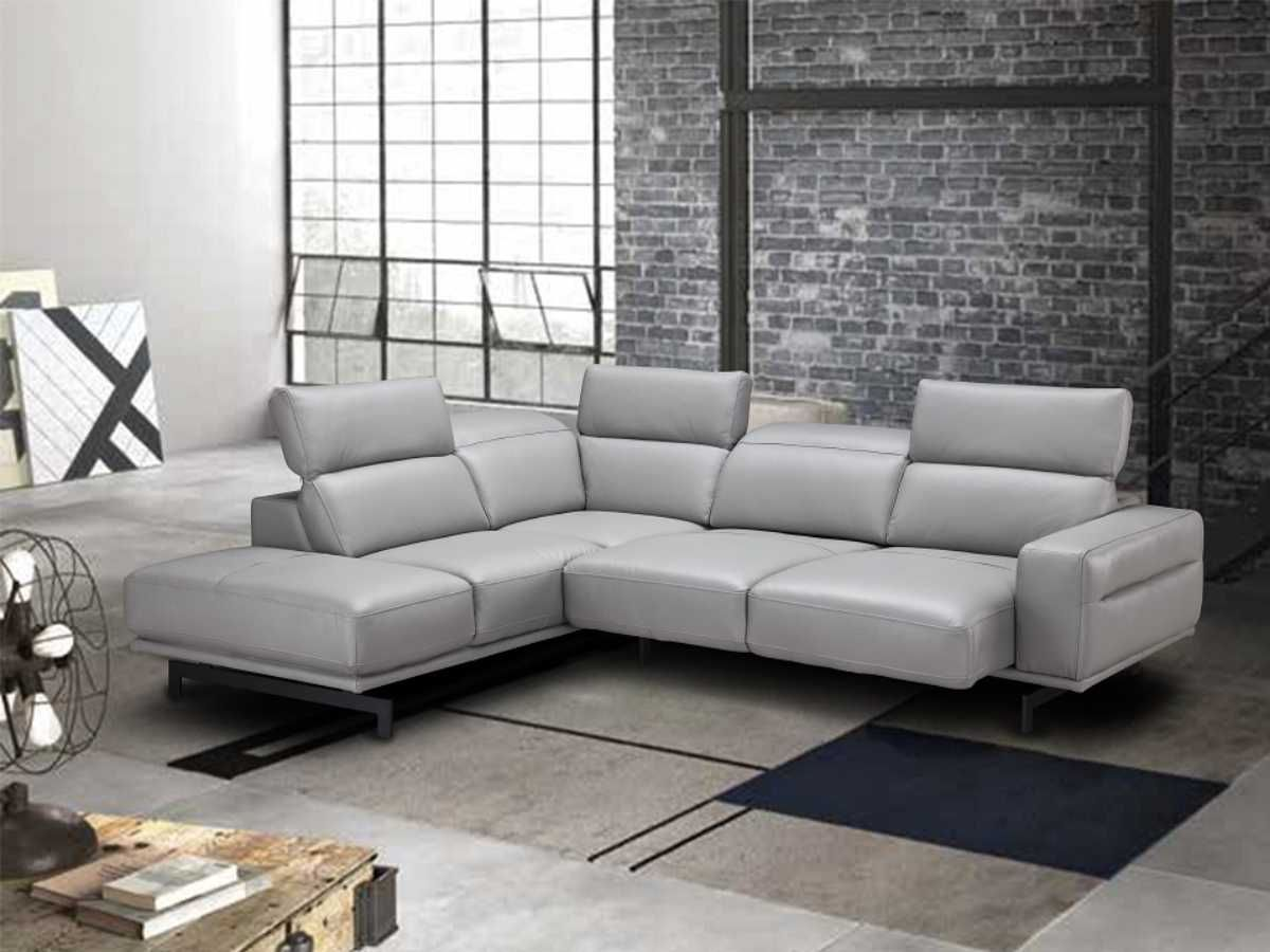 Modern Contemporary Italian Leather Light Grey Sectional Grey Sectional Sofa Top Grain Leather Sectional Grey Sectional