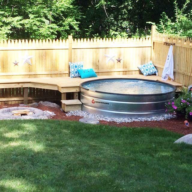 galvanized stock tank turned into backyard private pool