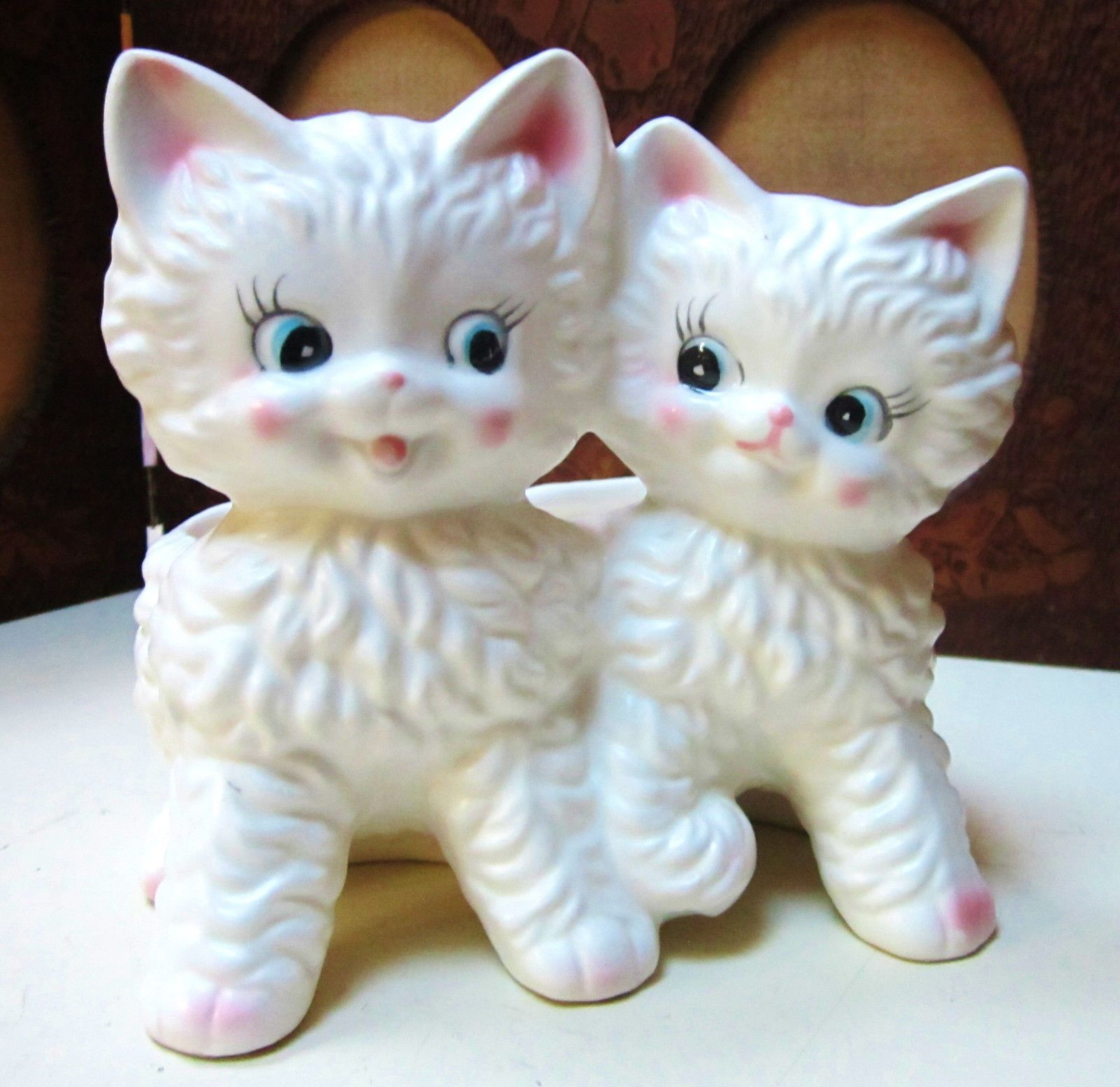 Adorable Pair Twin White Kittens Relpo W Label Ebay White Kittens Kittens Vintage Cat