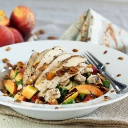 Kale, Chicken and Peach Salad with Candied Almonds