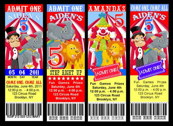 CIRCUS CARNIVAL Theme Ticket Style Invitation Birthday party ...