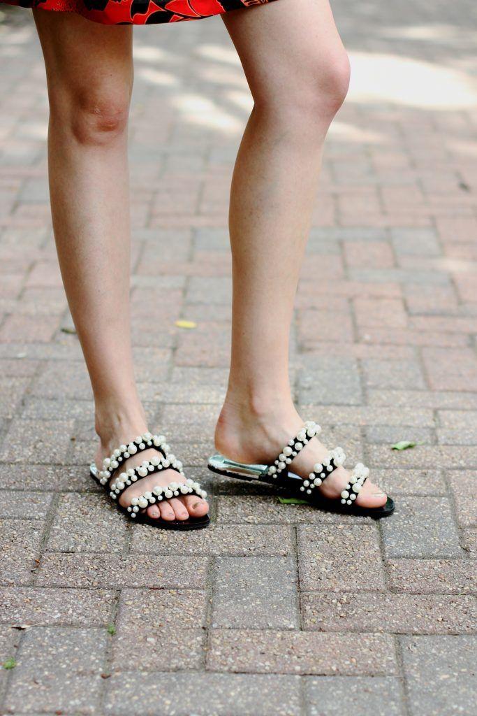 921955b0e5a Zara pearl-embellished slides