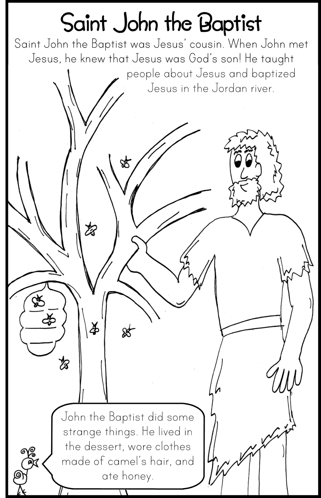 Saint John the Baptist Coloring Page John the Baptist