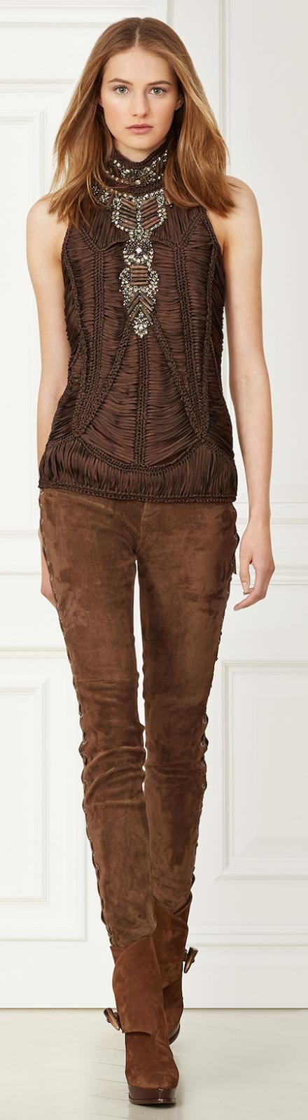 Ralph Lauren ~ Leanna Macrame Top + Saddle Brown Suede Jeans