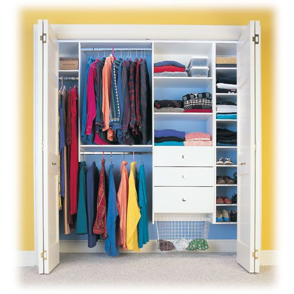 My New Closet Is 4 Sliding Door Wide With One Shelf And A Huge Wooden Hanging Rod I Want Mine To Look Like Th Diy Closet Closet Designs Custom Closet Storage