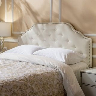 Silas Adjule Full Queen Studded Fabric Headboard By Christopher Knight Home Beige