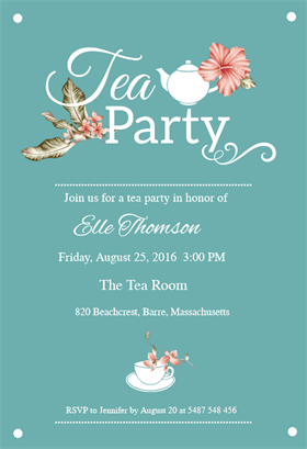 Bridal Shower Tea Party - Free Printable Bridal Shower Invitation Template | Greetings Island