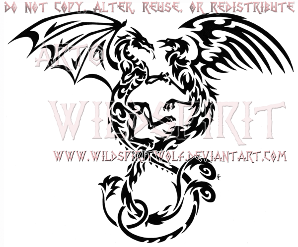 Entwined Dragon And Phoenix Tribal Design Celtic Dragon Tattoos Tattoo Dragon And Phoenix Phoenix Tattoo