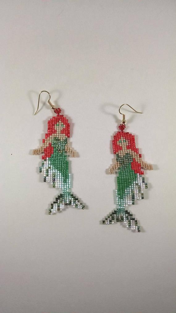 1661d91c0 Beaded Mermaid Earrings, Green and Red Mermaid Jewelry, Finned ...