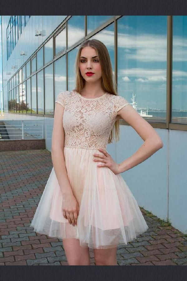 28db6c1aa99 Short sleeve prom dress shortsleevepromdress homecoming lace  homecomingdresslace homecomingdressshort line also hot sale glorious dresses  rh