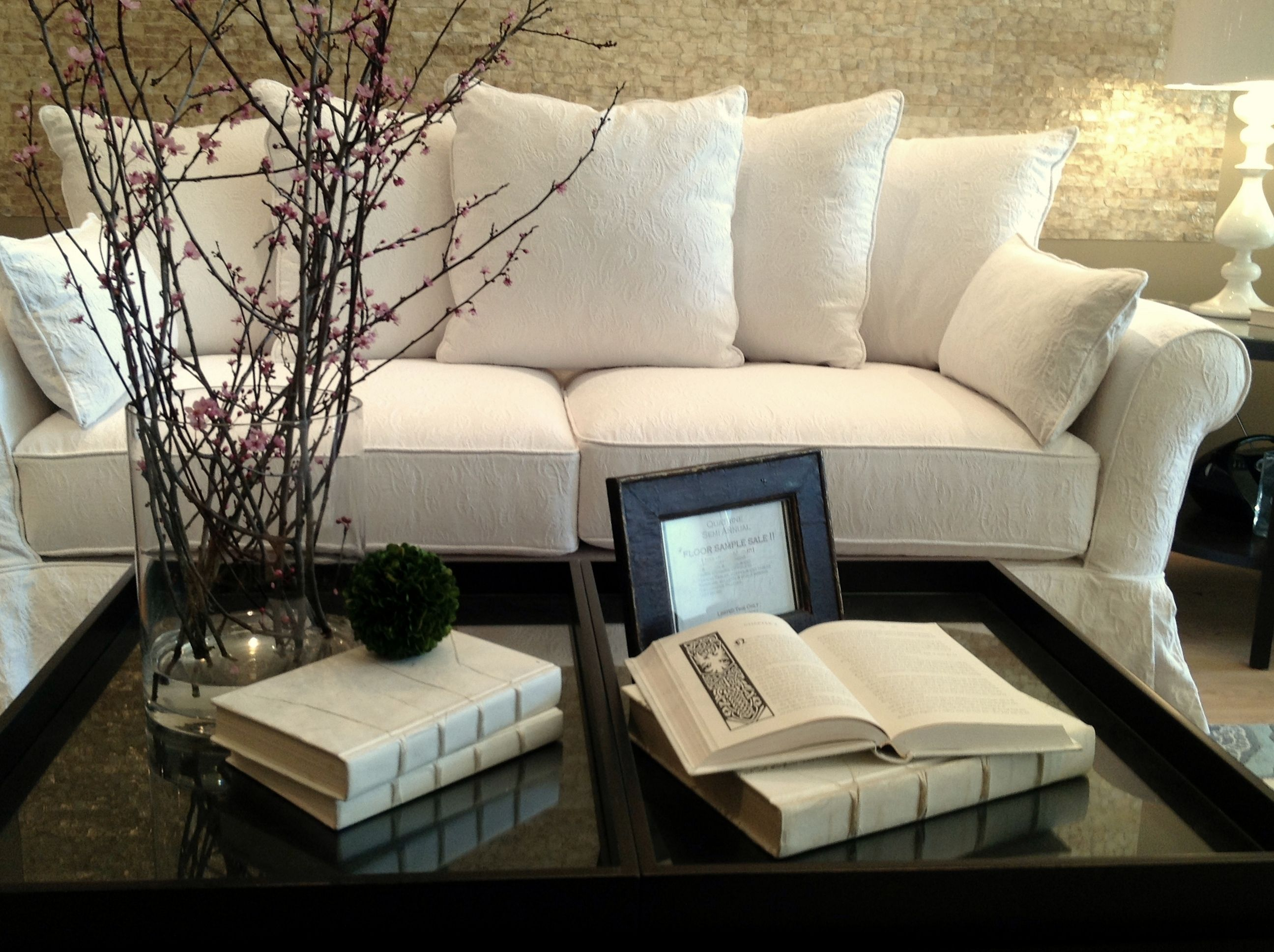 Monterey sofa with loose back pillows slipcovered in our cotton