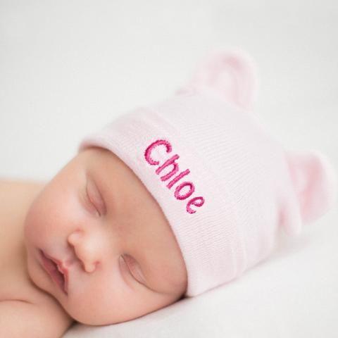 8502d3391bcef Personalized Pink Baby Bear Newborn Girl Hospital Hat  Melondipity