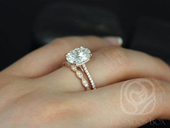 3cts Blake 10x8mm & Christie 14kt Solid Rose Gold Oval ...